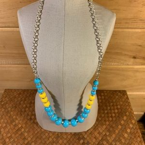 Jewelry - Graduated Blue and Yellow Beaded Necklace